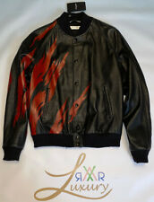 SAINT LAURENT BLACK AND RED FLAME TEDDY JACKET IN LEATHER Size 54
