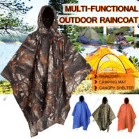Poncho Waterproof Hoody Raincoat Camping Mat Hiking Rain Coat Outdoor Adventures