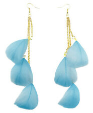 light dangle cute noble earrings New F2189 sky blue Feather shiny golden chain
