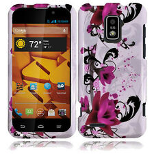 Boost Mobile Warp 4G ZTE N9510 HARD Protector Case Cover White Purple Flowers