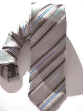 NEW Mens Silk Tie Necktie Silver Gray Brown Khaki Blue Sateen Stripe Alfani A304