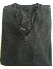 Paul Smith PS Gents V-Neck Merino Wool Pullover Jumper - Grey - L - RRP £135 New
