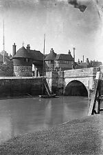 1910s SANDWICH Barbican & Bridge Antique Photographic Glass Negative (Kent)