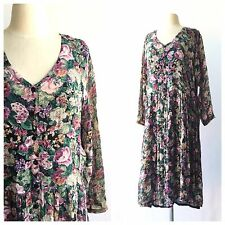 Vintage 90's Starina Gauzy Rayon Dress Floral Lace Grunge Babydoll Midi Festival