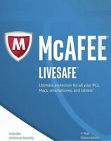 McAfee LiveSafe 2018 / Unlimited Devices / 1 Year / Download