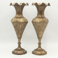 """Vintage Brass Ruffled Vase Pair 12"""" Made in India"""