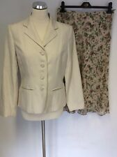 EAST CREAM LINEN & SILK FLORAL LINED JACKET & FLORAL SILK SKIRT SUIT SIZE 12