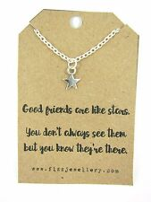 """Friendship Dainty Star """"Friends are like Stars"""" 18"""" Necklace New Gift Card Quote"""