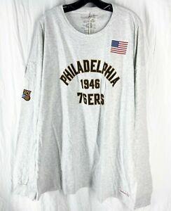 Mitchell & Ness NBA 1946 Philadelphia 76ers Gray Long Sleeve Shirt Size 4XL