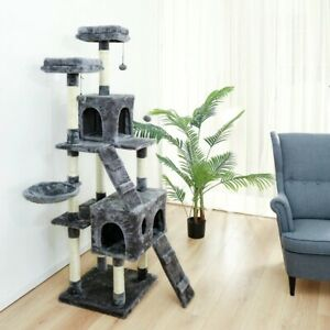 Multi-Level Cat Tree Scratching Post Plush Kitten Climbing Tower Activity Centre