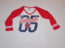 Washington Nationals MLB Campus Lifestyle V-Neck Top / Shirt Women's XS NEW