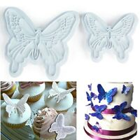 2pcs Butterfly Cake Fondant Plunger Cutter Mold Cupcake Cookies Decorating Tools