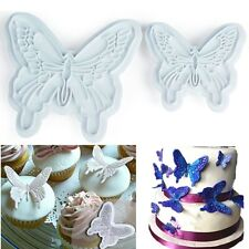 2pcs Butterfly Plunger Cookies Cutter Biscuit Cake Decor Sugarcraft Mould Tool