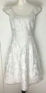 Adrianna Papell Size 8 Linen Blend Embroidered Dress Short Sleeve Lined White