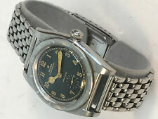 ROLEX 3372 OYSTER PERPETUAL BUBBLE BACK 1945 STAINLESS STEEL BLACK FACE- RARE