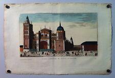 Vue d'optique:Église cathédrale de Tolède en Espagne, Eau-forte aquarellée