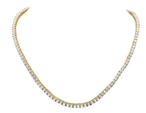 Men's Yellow Gold Sterling Silver Lab Diamond 1 Row Tennis Chain Necklace 4MM...