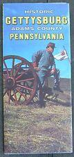 1967 Historic Gettysburg Adams County PA + Fantasyland brochure & map b