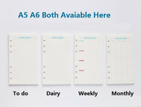 A5 A6 Refill Weekly Planner Refillable Pages for Binder Monthly Diary Notebook