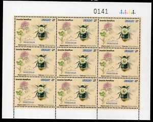 Insect pollinator bee bumblebee clover flower Uruguay 2021 MNH ** Sheetlet