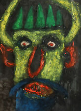 ABSTRACT PORTRAIT DEVIL DEMON VINTAGE GOUACHE PAINTING