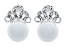 Big Pearl Clip on Earrings Silver Plated Stud With Clear Crystals - Hope