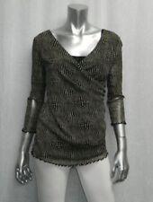 MIMI MATERNITY Black/Beige Print Double Layered Mesh V-Neck Stretch Blouse sz S