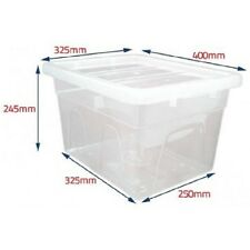 PLASTIC STORAGE BOX BOXES STACKING SPACE MASTER SHOE ORGANISER KITCHEN UNDERBED