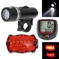 New Bicycle Speedometer + 5 LED Mountain Bike Cycling Light Head + Rear Lamp Set
