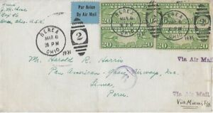 1931 Airmail Cover from Berea, OH to Pan-Am Airways in Lima, Peru (Scott C9 x 4)