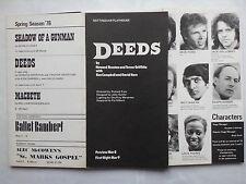 DEEDS.NOTTINGHAM PLAYHOUSE PROGRAMME 1-4-1978.A DOBSON.D BEAMES.M FORD.R NOSSEK