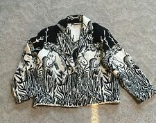 Women's M Medium HORSE Woven blanket coat jacket  cactus EUC More by Lata fall