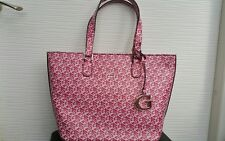 NEUF Grand sac à main GUESS lettres G cubes rose et blanc sexy vintage chic