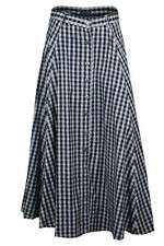 Cotton Check Maxi Skirts for Women