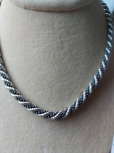 """Milor~5.2MM ROPE W/BALLS ENTWINED 18"""" NECKLACE~27 Gram~STERLING SILVER~925~ITALY"""