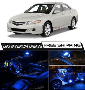 For 2004-2008 Acura TSX 10K Blue LED Interior Lights Package Kit Bulb Lamp O5