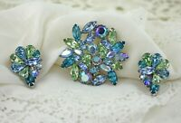 Vintage Huge Blue Green Iridescent Ice Weiss Silver Prong Set Brooch Earring Set
