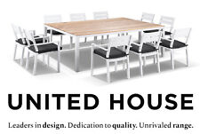 White Aluminium Teak Top 10 Seater Dining Table Chairs Outdoor Furniture Setting