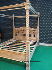 Super King TEAK natural rustic Four poster queen anne chippendale canopy Bed