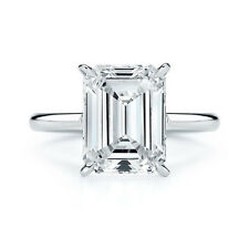 2.00ct Emerald Cut Solitaire Diamond Engagement Ring 14K White Gold Emerald Ring