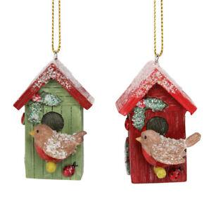 Gisela Graham Glittered Robin & Birdbox Hanging Decoration - Cracker Filler Gift