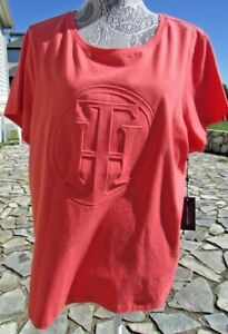 NWT 1x short sleeve peach pink Tommy Hilfiger LOGO top blouse