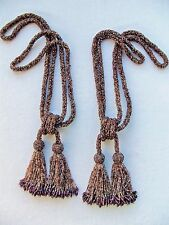 All Glass Beaded Double Tassel Tiebacks ~ Drapery ~ Chair Ties ~ SET OF TWO