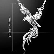 Alighting Mythologicial PHOENIX .925 Sterling Silver Necklace