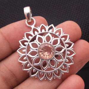 Faceted Morganite Gemstone 925 Sterling Silver Jewelry Artistic Women Pendant