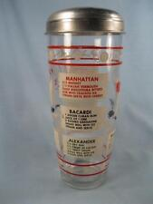 Retro Cocktail Shaker Drink Mixer With Recipes & Sporting Decals MISSING CAP (O)