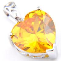 Special Women Xmas Gift Love Heart Golden Citrine Gems Silver Necklace Pendant