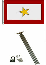 3x5 One Gold Star KIA Flag w 6' Ft Aluminum Flagpole Flag Pole kit