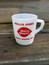 **RARE** VINTAGE FIRE KING Hollis Jones DAIRY QUEEN Milk Glass Mug TX King of DQ