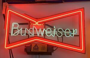 Vintage Budweiser Neon Bow Tie Light Breweriana Man Cave Home Bar...